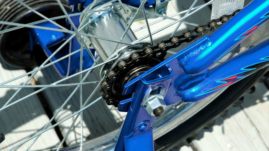 chain is rotated on the wheel
