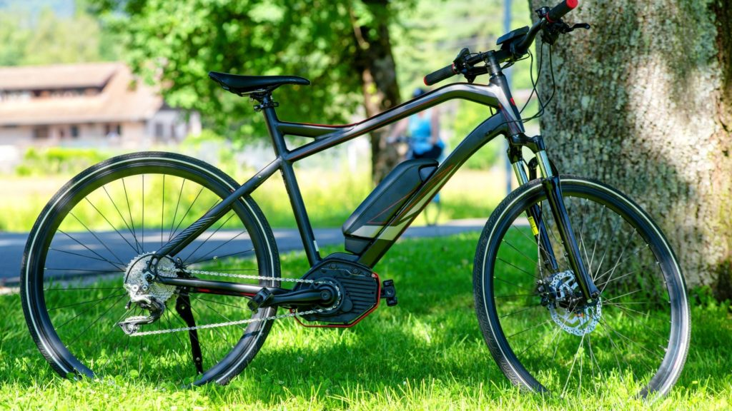 electric cycle is under the tree