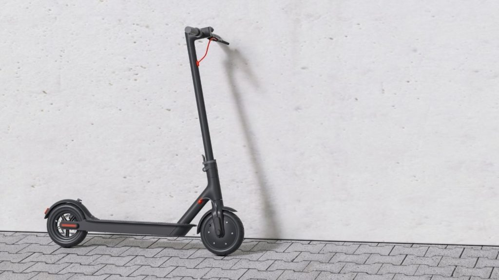 electric scooter is stand on the road
