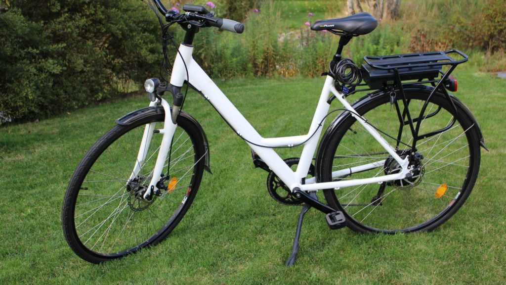 the electric cycle on the grass land
